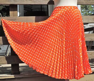 Vintage Beverly Paige Knife Pleated Long Skirt EXC 1960s  Orange  Be Bold!  S/M