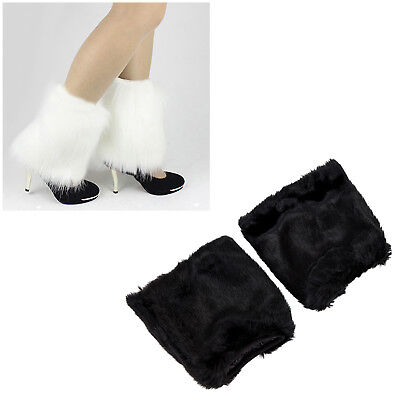 Fluffies Fluffy Furry Leg Warmers Boots Covers Rave Furries White BG