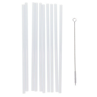 Magideal 10x Clear Reusable Hard Plastic Straw+1x Cleaning Brush Party Decor