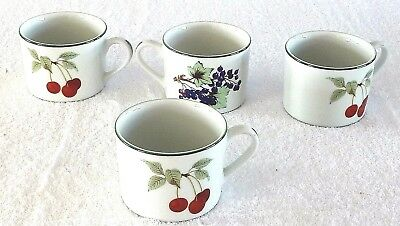 Royal Worcester Evesham Vale Cups  X 4  Green Edge -- Ideal For Spares
