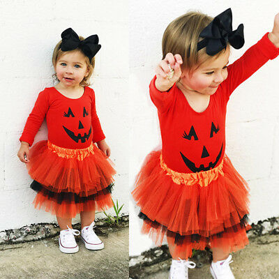 AU Newborn Toddler Baby Girls Halloween Tops Tutu Skirt Dress Pumpkin Costumes