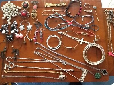Costume jewellery Job Lot Earrings Brooches Necklaces Bracelets
