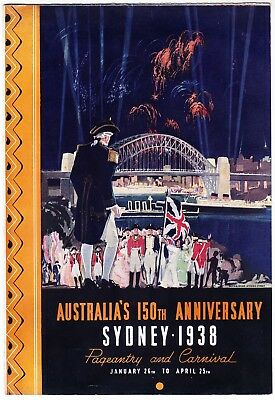 1938 VINTAGE TRAVEL BROCHURE AUSTRALIA'S 150TH ANNIVERSAY SYDNEY very good cond