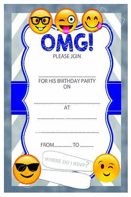 1 X EMOJI BOYS CHILDRENS BLANK FILL IN DIY BIRTHDAY INVITATIONS FREE MAGNETS