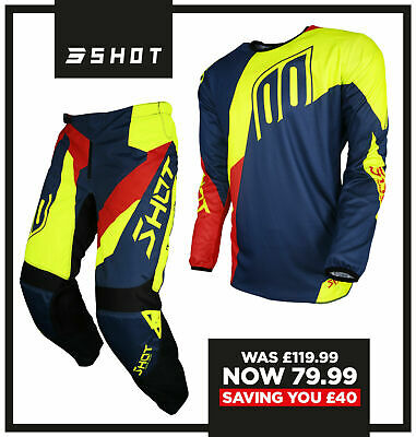 New 2018 Shot Alert Motocross Mx Pant & Jersey Combo Kit Blue Red Neon Yellow