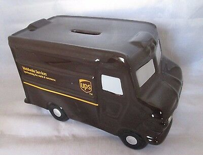 """UPS Worldwide Services Brown Truck Ceramic Coin Bank 8"""" long!"""
