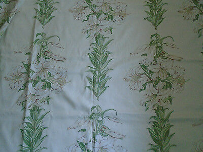 """Laura Ashley lovely fabric remnant vintage 1995 Lilies 2 yards + 8"""" x 47"""" new"""