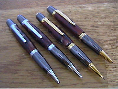 Woodturning Pen Kits - SIERRA Pen/Pencil - Gold/Chrome/Black Titanium/Platinum