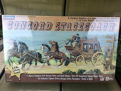 Lindberg 1/16 Concord Stagecoach W/ 4 Horses & 6 Figures Model Kit # 70351 F/s