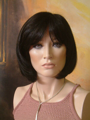 Annabel Fully hand tied mono Short Bob Nearly Black Wig 1/2 Price
