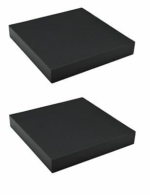 Harbour Housewares Pack Of 2 Floating Wooden Wall Shelves 25cm x 25cm - Black