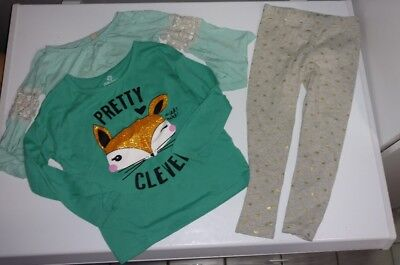 Lot Of 3 Toddler Girl's Size 3T Winter Clothing Items Shirts/bottom