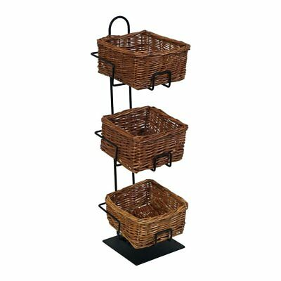 Mobile Merchandisers CR0620-3B-MB 3-Tier 3 Square Willow Basket Counter Display