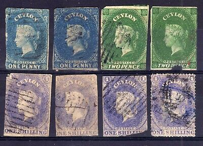 Ceylon 1857-64 Star Wmk. Used Selection, Spacefillers, 8 Stamps.