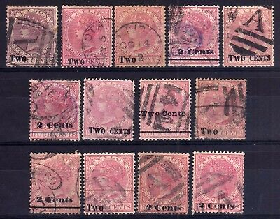 CEYLON 1888-90 QUEEN VICTORIA 2c SURCHARGES USED SELECTION, 13 STAMPS.