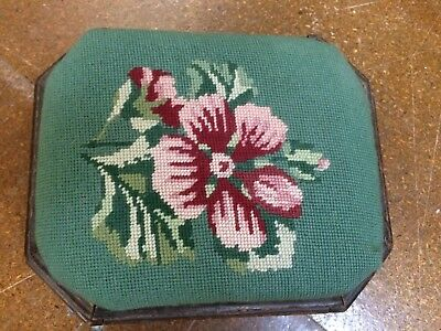 Antique embroided sewing box