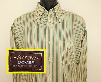 Arrow Dover vintage shirt green beige long-sleeve button-down collared