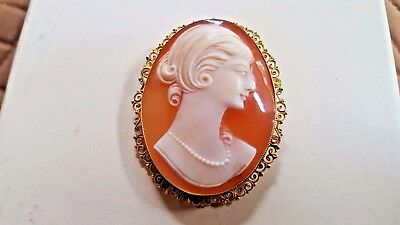Vintage Cameo Brooch Pendant with 18kt (750) gold and filigree