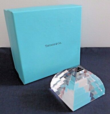 Vintage Cut Crystal Glass Tiffany & Co. Pyramid Paperweight New in Box