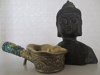 Old Chinese Oriental Bronze Figure of Buddha and Enamelled Incense Burner ?