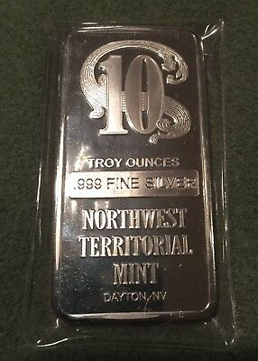 10 oz Northwest Territorial Mint Silver Bar .999 Fine silver bars bullion