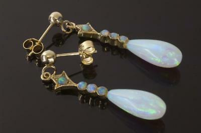 A STYLISH PAIR OF SOLID 9ct GOLD FIERY OPAL DROP EARRINGS