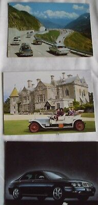 3 vintage postcards of cars 1960s Switzerland, 1909 Rolls Royce and Rover