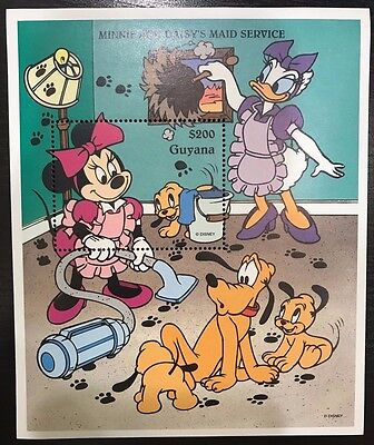 Guyana- Disney Minnie & Daisy's Maid Service Souvenir Sheet