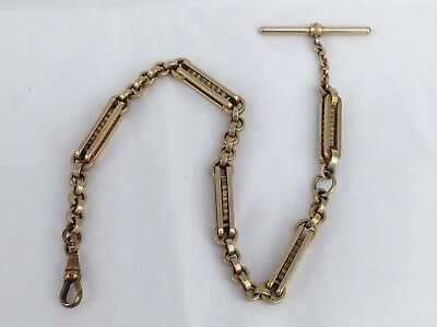 Victorian Brass Pocket Watch Chain With Fancy Box Links, C. 1890 - 13Ins