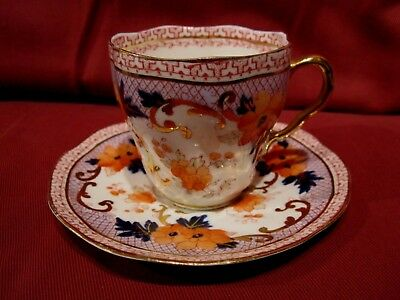 Stunning Antique 1800's Minton Cabinet Cup And Saucer Imari Palette Design