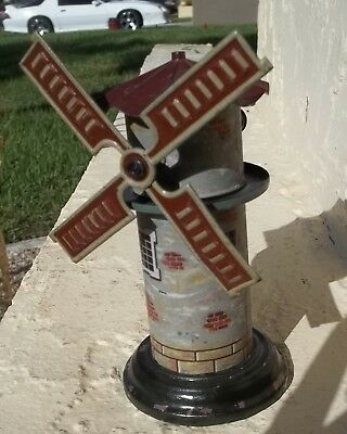 ANTIQUE Toy Tin Litho  GERMAN  Wind  SPINNING WINDMILL WORKS RAILROAD ?