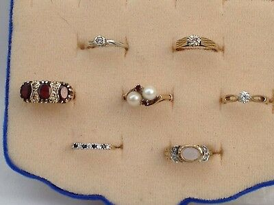 7 Vintage 9Ct Gold Hallmarked Rings, Various Styles - 1960/70'S