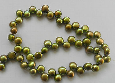 Natural 8-9mm Olive green Pearl Coin Loose Beads 15inch