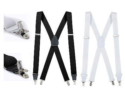 "New Fashion Men, women, Elastic No Slip ""Pin Clip"" X Back Suspenders Leather Tri"