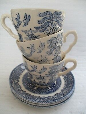 Vintage Blue Willow ~ Made in England By EIT LTD ~ Set of 3 Cups & Saucers ~ EUC