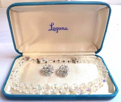 """*rare* Vintage In Orig Box Signed Laguna 16 5/8"""" Necklace & Earrings Set! G6571T"""