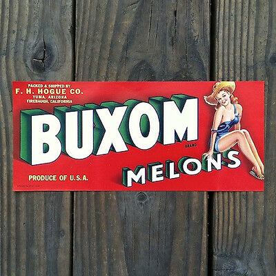 Vintage Original 1940s Buxom MELONS PINUP CRATE BOX CITRUS Label Unused NOS