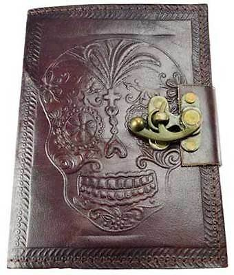 "5""x7"" Locking Leather Bound DAY OF THE DEAD Book of Shadows, Journal, or Diary!"