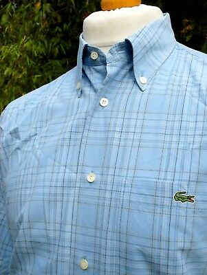 Lacoste Blue Check Button-Down Shirt - L/XL - Size 40 - Ska Mod Scooter Casuals