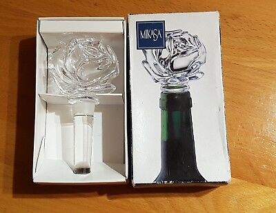 Mikasa Crystal Rose Bottle Stopper-Gorgeous-RARE-NEVER USED-in Original Box!