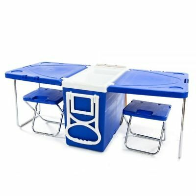 Multi Function Rolling Cooler Table 2 Chairs Outdoor Picnic Party Beach Camping