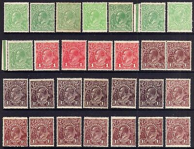 Australia Kgv Heads Mint Lot F: 1918-20 Multiple Wmk Shades, 28 Stamps