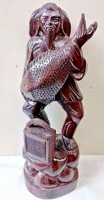 Antique Wooden Fisherman Fish Sailor Sculpture Statue Hand carved Vintage Rare