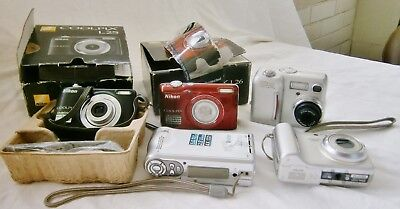 Vintage joblot of FIVE  digital cameras – two boxed,  untested