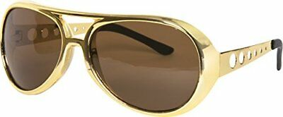 Gold 60s Rock Star Aviator Sunglasses; Metal Side Pieces elvis glasses **NEW**