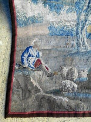 French antique Aubusson  tapestry 17th-century pastoral sheep