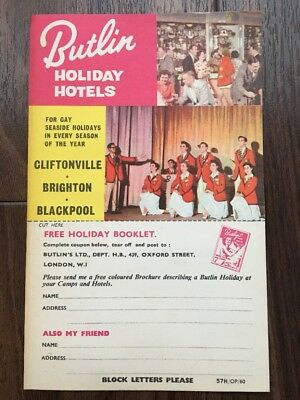 Postcard. Butlin Holiday Hotels. Rare collector's item