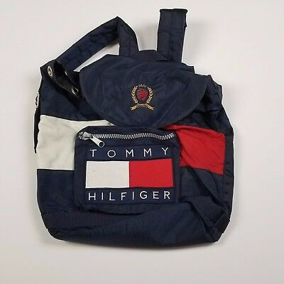 90's Tommy Hilfiger Drawstring Missing Nylon Backpack Bag Flag Zipper Pocket