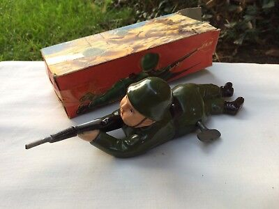 Vintage Clockwork Wind Up Crawling Toy Soldier,Moving Head,Working,Boxed,VGC.