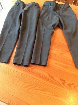 Two pairs of boys grey skinny school trousers age 2-3 years. M&S